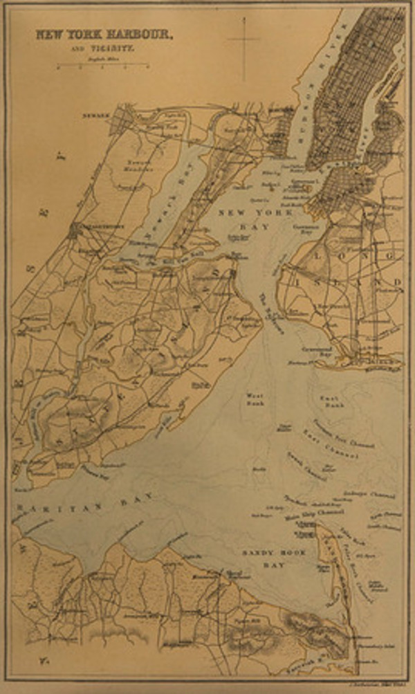 New York Harbour and Vicinity by J. Bartholomew