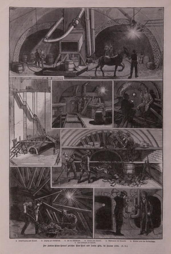 Der Hudson-River-Tunnelzwich en New-York, int by Artist Unknown