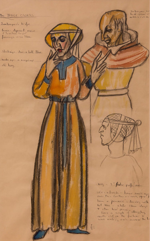 Costume Sketch for the Holy Innocents, Dress for Innkeeper and Wife by Constance Mary Rowe also known as Sister Mary of the  Compassion, O.P.