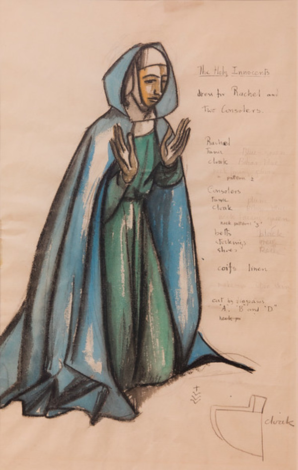 Costume Sketch for the Holy Innocents, Dress for Rachel and the Consolers by Constance Mary Rowe also known as Sister Mary of the  Compassion, O.P.