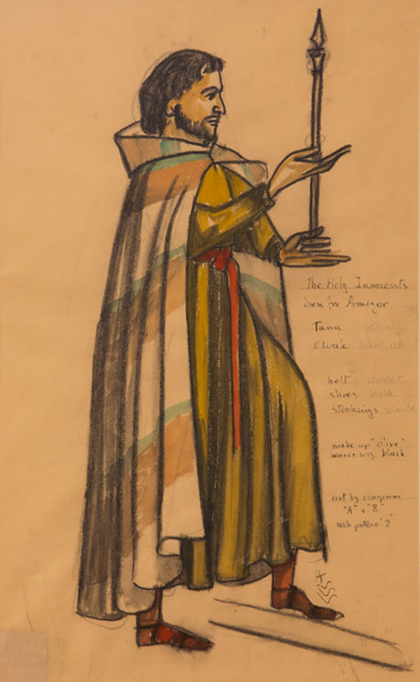 Costume Sketch for the Holy Innocents, Dress for Amiger by Constance Mary Rowe also known as Sister Mary of the  Compassion, O.P.