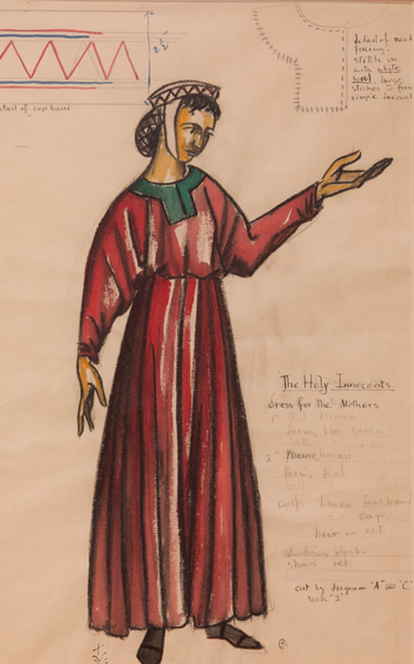 Costume Sketch for the Holy Innocents, Dress for the Mothers by Constance Mary Rowe also known as Sister Mary of the  Compassion, O.P.