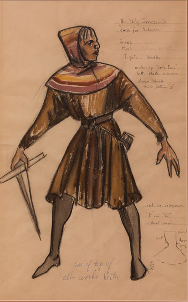 Costume Sketch for the Holy Innocents, Dress for the Soldiers by Constance Mary Rowe also known as Sister Mary of the  Compassion, O.P.