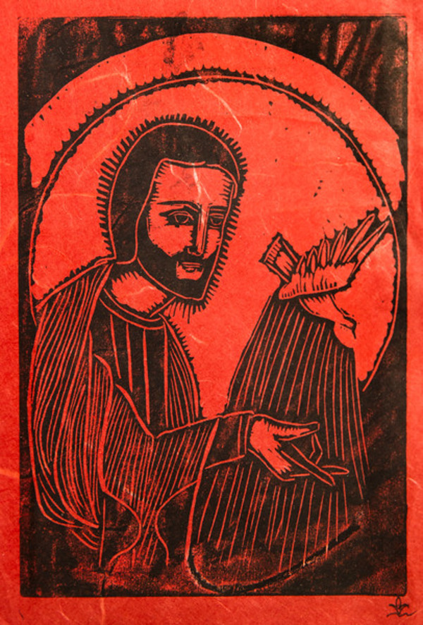 Untitled (Jesus with Bird--Black Ink on Orange-Red Paper) by Maria Immaculata Tricholo also known as  Sister Mary Gemma of Jesus Crucified, O.P.