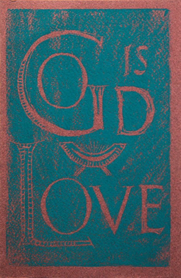 Untitled (God is Love--Blue Ink on Red Paper) by Maria Immaculata Tricholo also known as  Sister Mary Gemma of Jesus Crucified, O.P.