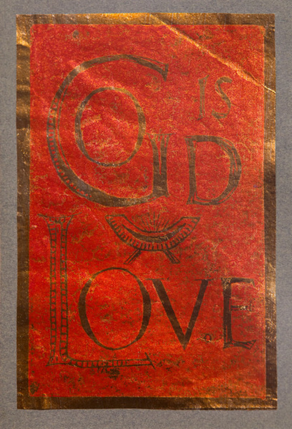 Untitled (God is Love--Red Ink on Metallic Paper) by Maria Immaculata Tricholo also known as  Sister Mary Gemma of Jesus Crucified, O.P.