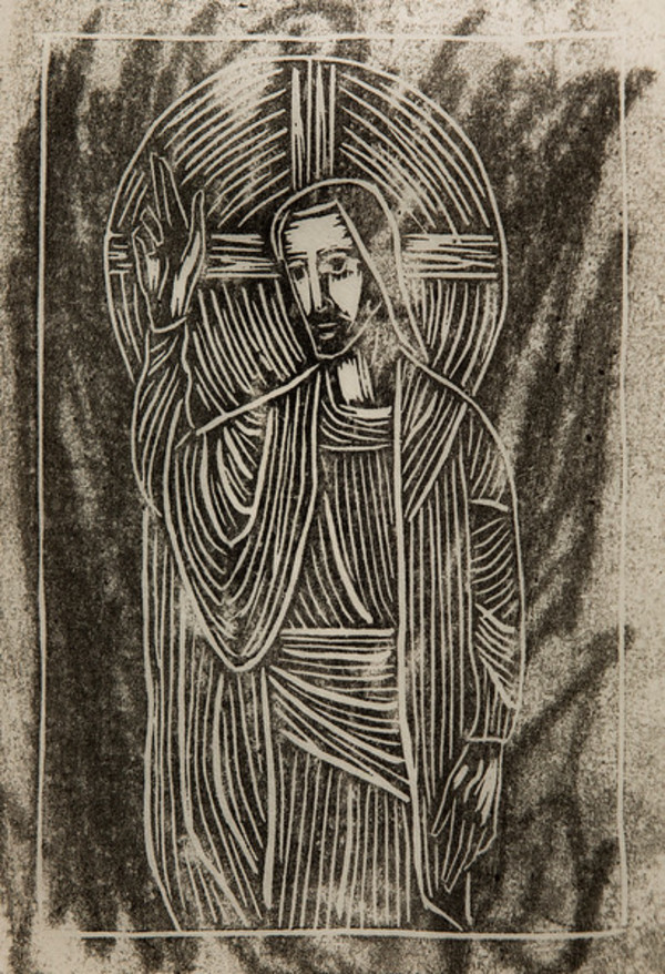Untitled (Jesus with Raised Right Hand--Uneven Black Ink on Grey? Paper 2) by Maria Immaculata Tricholo also known as  Sister Mary Gemma of Jesus Crucified, O.P.