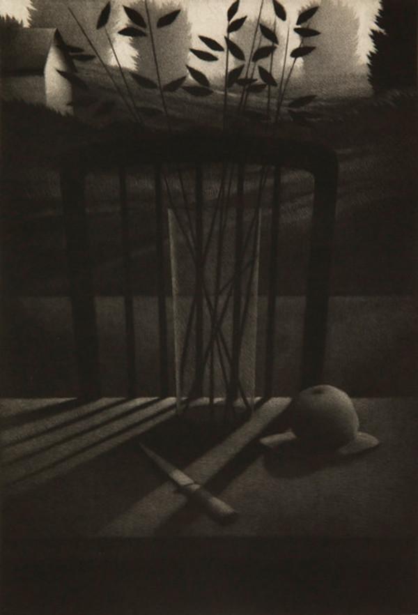Still Life w/Knife & Fruit by Robert Kipniss