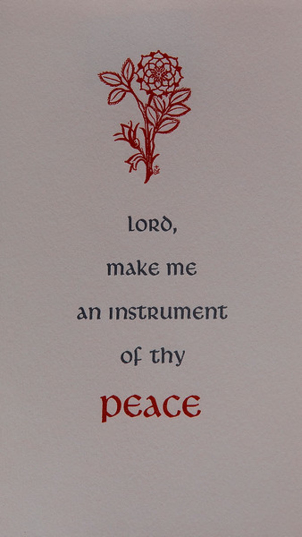 Untitled (Holy Cards--Lord make me an instrument of thy peace) by Constance Mary Rowe also known as Sister Mary of the  Compassion, O.P.