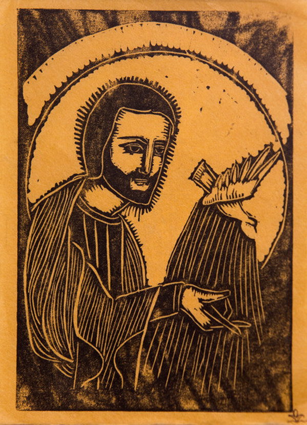 Untitled (Jesus with Bird--Black Ink on Yellow Paper) by Maria Immaculata Tricholo also known as  Sister Mary Gemma of Jesus Crucified, O.P.