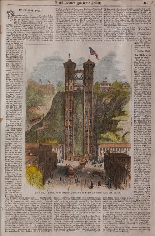 New-Jersey.-Elevator, der am Duke von Ferry Street in Hudson by Artist Unknown