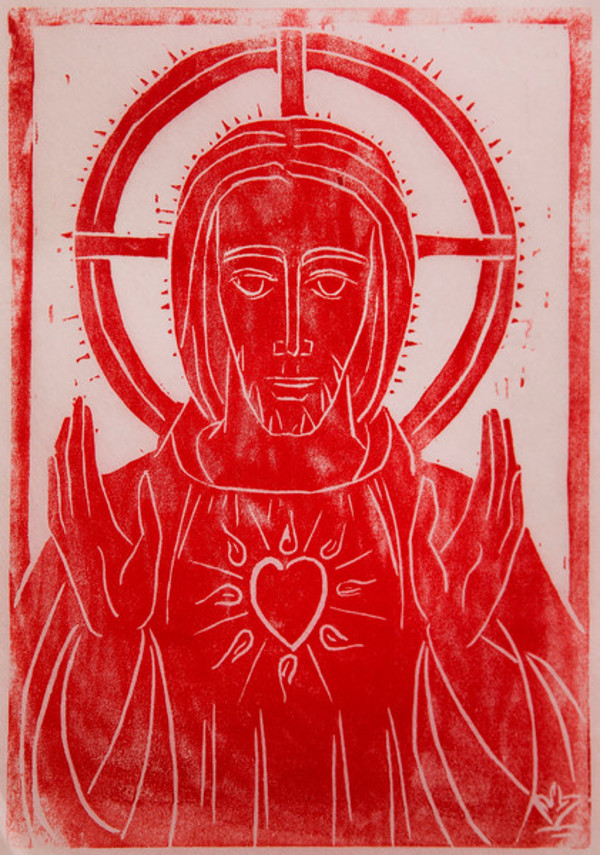 Untitled (Jesus with Heart--Red Ink on White Paper) by Maria Immaculata Tricholo also known as  Sister Mary Gemma of Jesus Crucified, O.P.