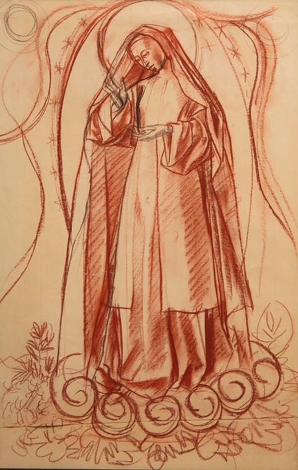 Cartoon for Our Lady of Fatima by Constance Mary Rowe also known as Sister Mary of the  Compassion, O.P.