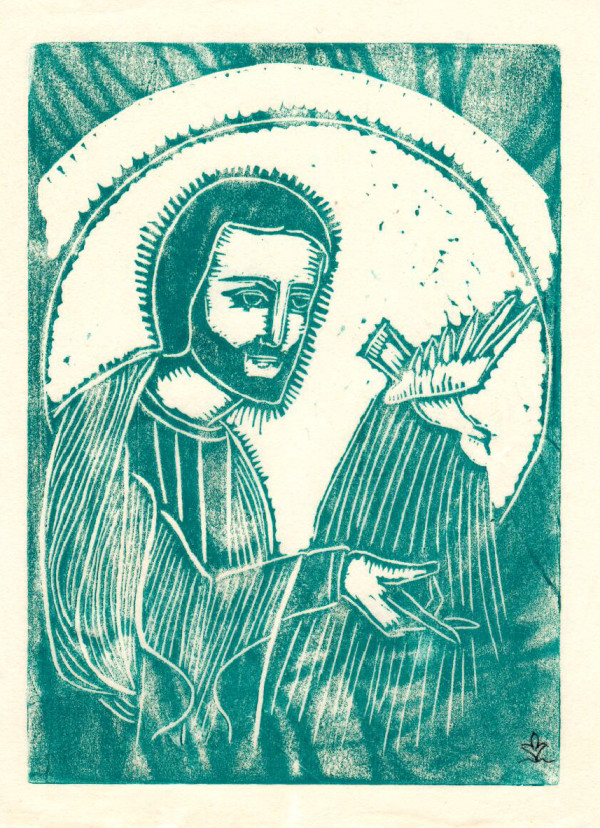 Untitled (Jesus with Bird--Blue Ink on White Paper) by Maria Immaculata Tricholo also known as  Sister Mary Gemma of Jesus Crucified, O.P.