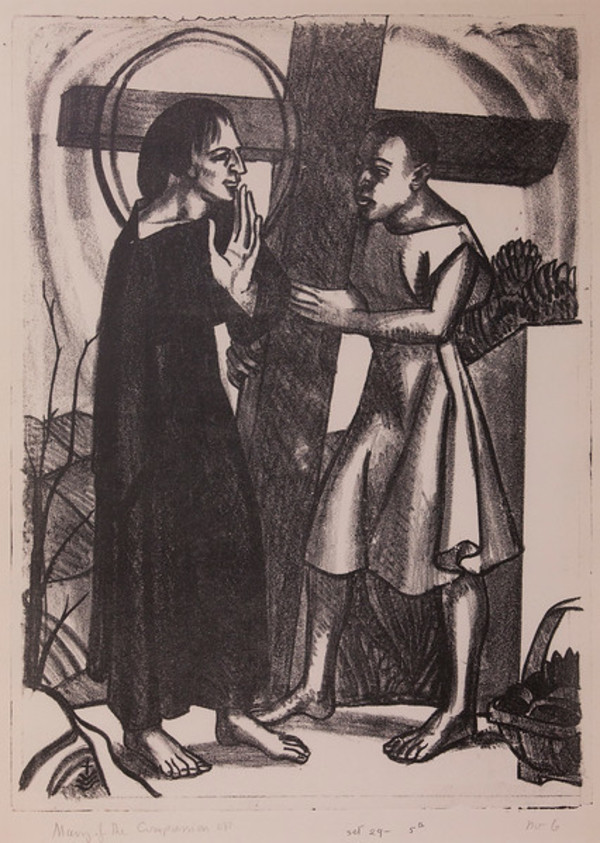 Stations of the Cross, No. V Jesus is Helped by Simon by Constance Mary Rowe also known as Sister Mary of the  Compassion, O.P.