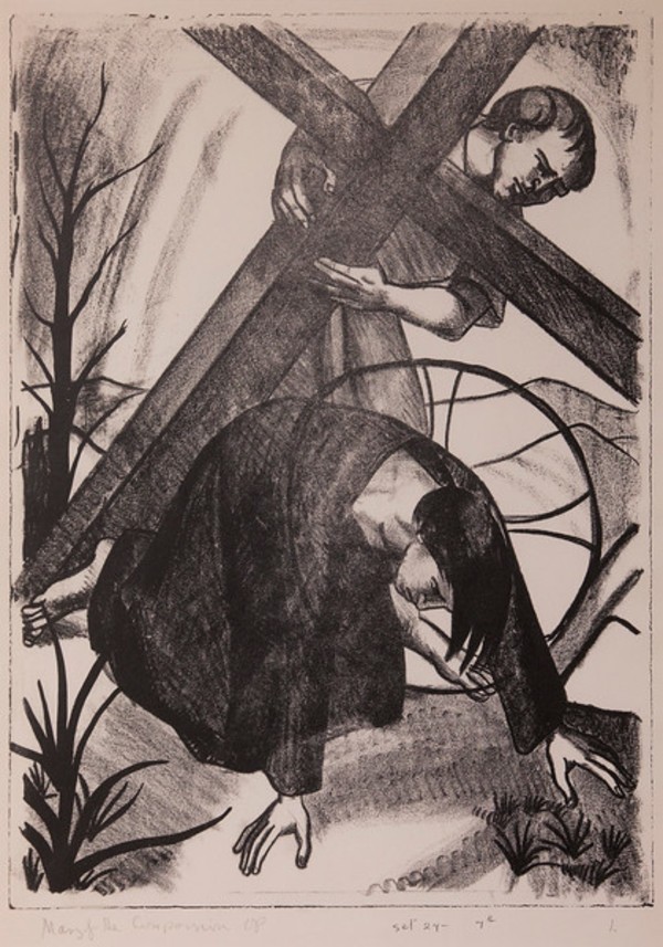 Stations of the Cross, No. VII Jesus Falls the Second Time by Constance Mary Rowe also known as Sister Mary of the  Compassion, O.P.