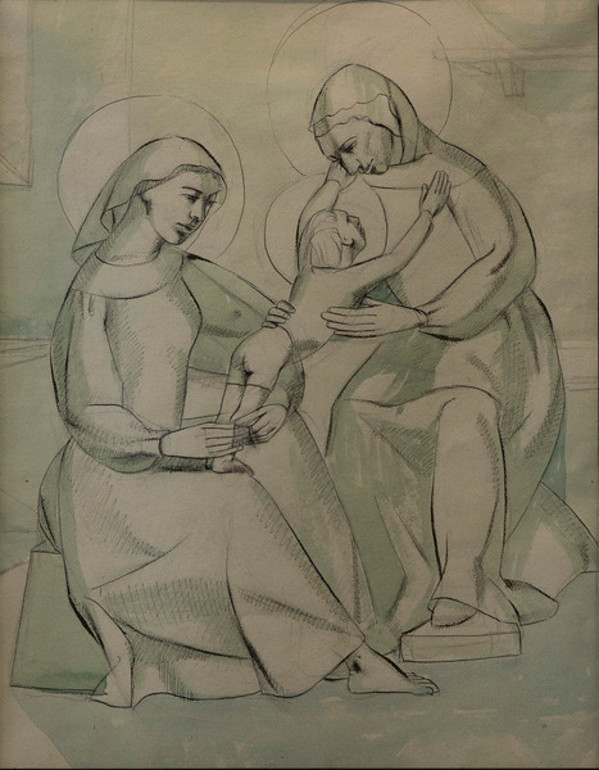 Our Lady, Child & St. Anne by Constance Mary Rowe also known as Sister Mary of the  Compassion, O.P.