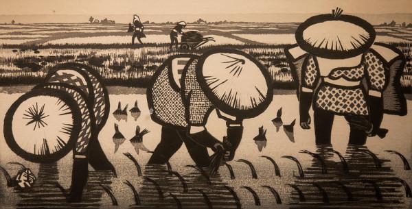 Rice Planters or Rice Fields by Gihachiro Okuyama