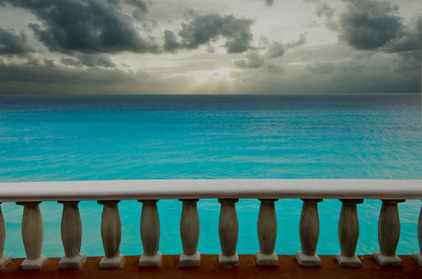 Sky, Sea, Railing Mexico by Barry Andersen