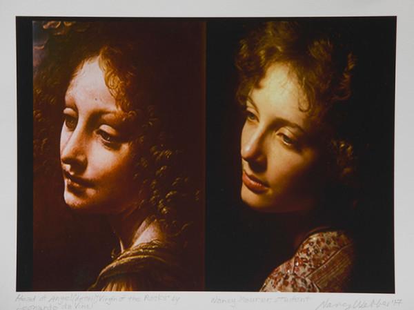 Head of an Angel (detail); Virgin of the Rocks; by Leonardo da Vinci, Nancy Maurer, Student by Nancy Webber