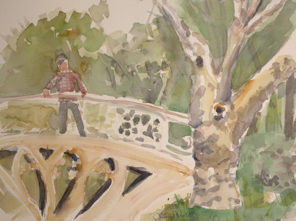 Man on Gothic Bridge by Lesley A. Powell