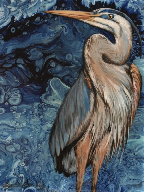 Blue Waters Great Heron by Crystal Dombrosky