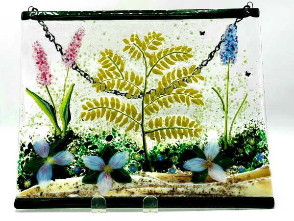 Garden Hanger-Fern with Trilliums by Kathy Kollenburn
