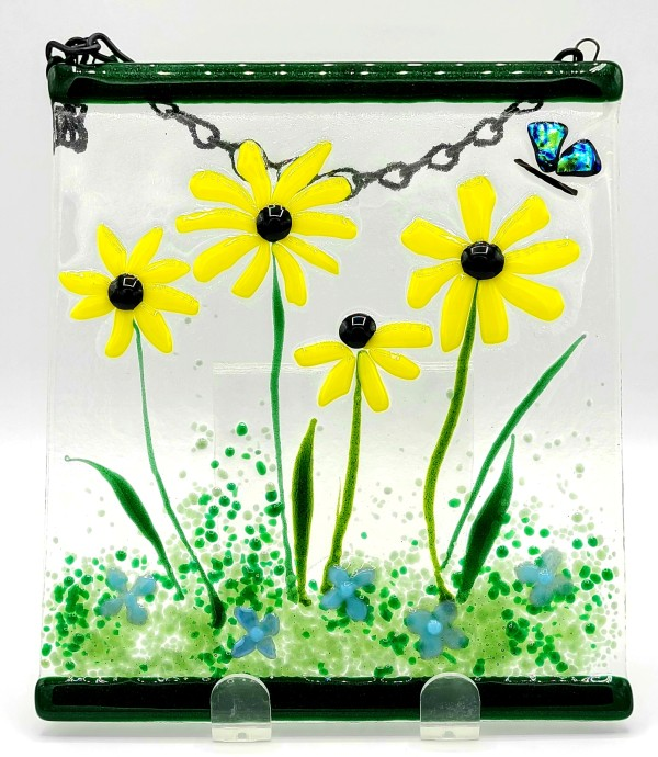 Garden Hanger-Yellow Daisies with Butterfly by Kathy Kollenburn