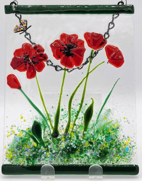 Garden Hanger-Poppies with Butterfly by Kathy Kollenburn