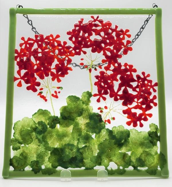 Garden Hanger-Geraniums by Kathy Kollenburn