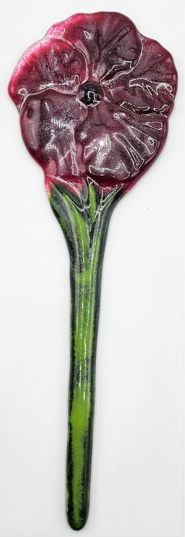 Plant Stake-Red Hibiscus Flower by Kathy Kollenburn