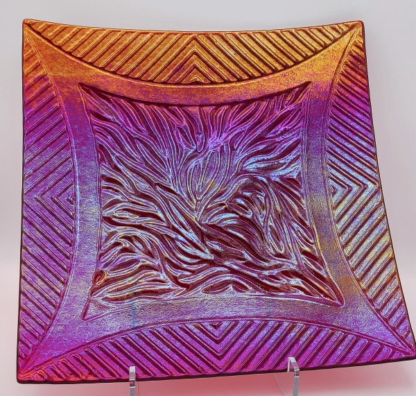 Large Textured Plate in Red Irid by Kathy Kollenburn