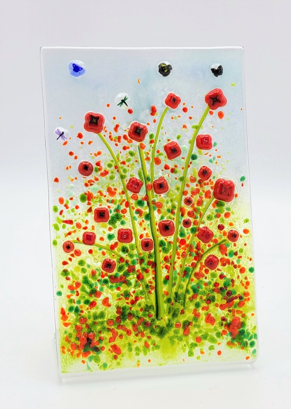 Garden Scene with Poppies-Free Standing by Kathy Kollenburn