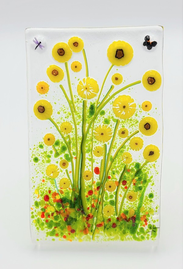 Stand Up Sunflower Picture with Butterfly & Dragonfly by Kathy Kollenburn