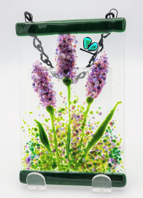 Garden Hanger-Lavender Trio with Butterfly by Kathy Kollenburn