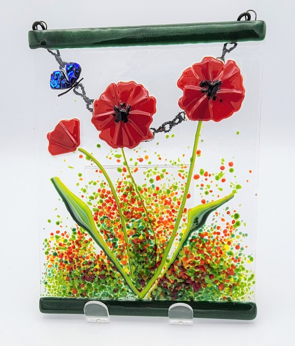 Garden Hanger-Poppy Trio with Butterfly by Kathy Kollenburn