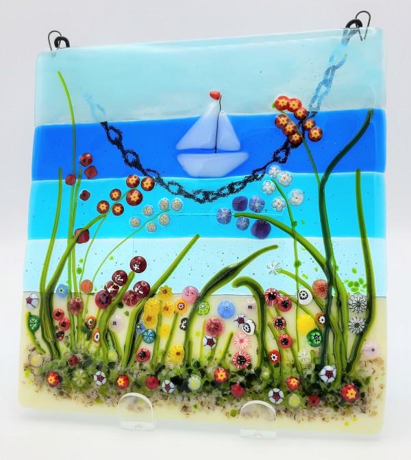 Garden Hanger-Flowers and Sailboat by Kathy Kollenburn