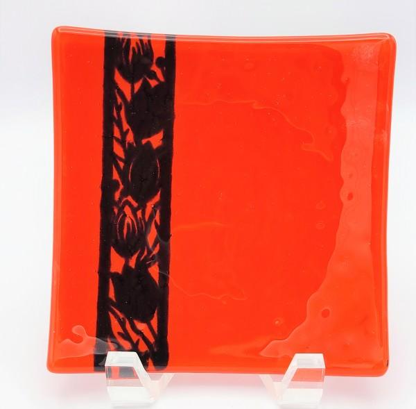 Snack Plate-Orange with Tulip Border Stripe by Kathy Kollenburn