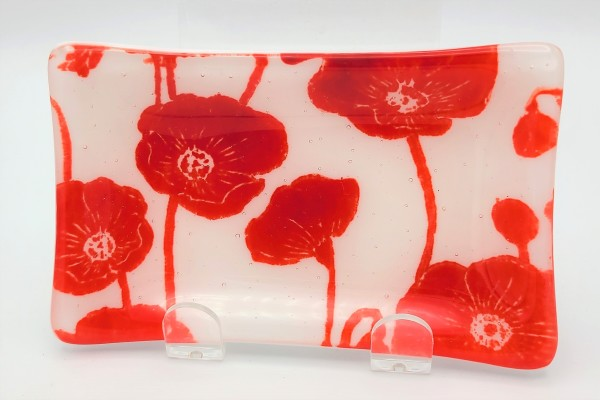 Soap Dish/Spoon Rest-Poppies on White by Kathy Kollenburn