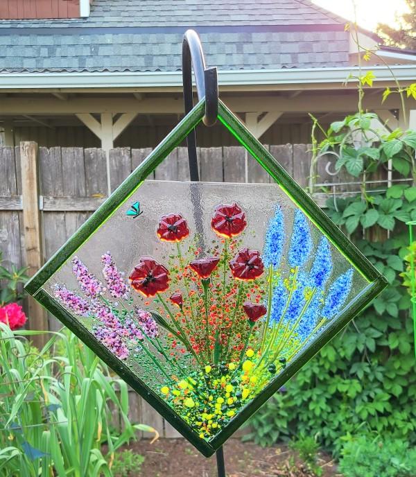 Diagonal Garden Hanger with Lavender, Poppies, & Delphiniums by Kathy Kollenburn
