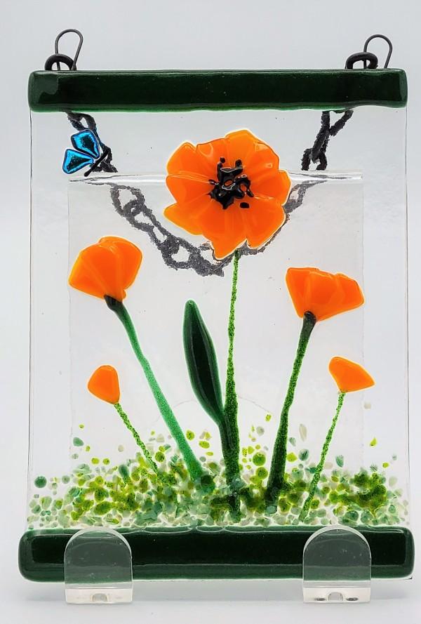 Garden Hanger with Orange Poppies by Kathy Kollenburn