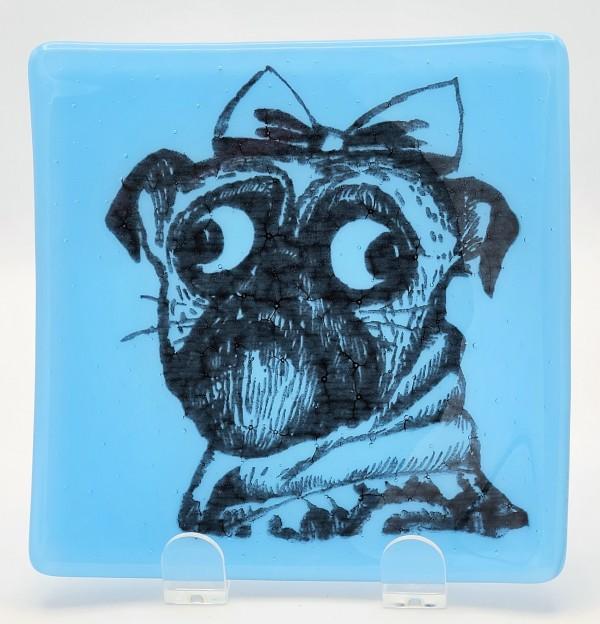 Layla the Pug Plate in Blue by Kathy Kollenburn