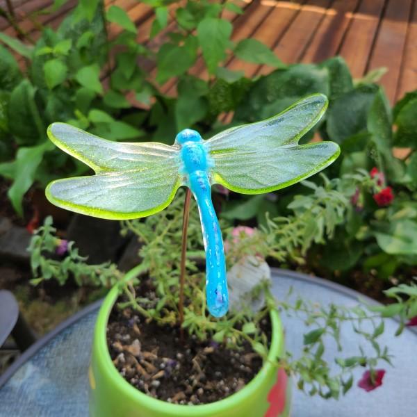 Plant Pick-Large Dragonfly in Cyan/Green by Kathy Kollenburn