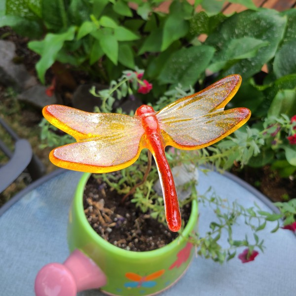 Plant Pick-Large Dragonfly in Orange/Yellow by Kathy Kollenburn