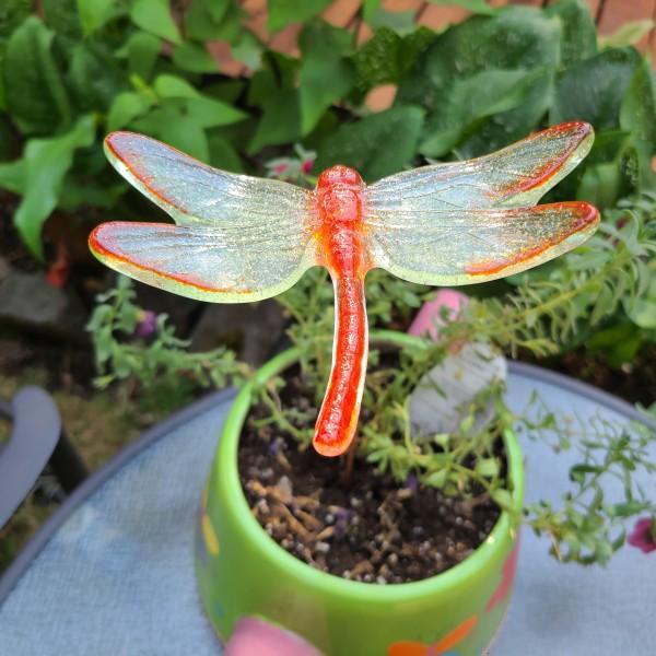 Plant Pick-Large Dragonfly in Orange & Green by Kathy Kollenburn