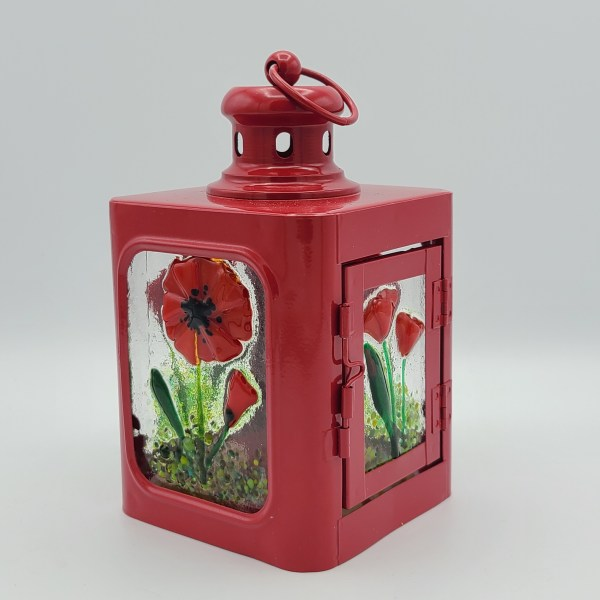 Lantern, Small Red with Poppy Panels by Kathy Kollenburn