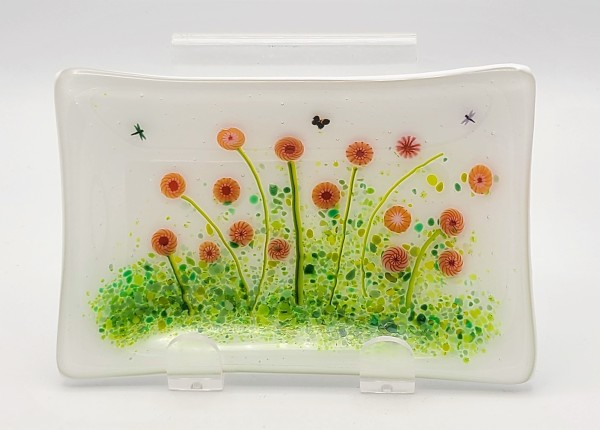 Soap Dish/Spoon Rest-Red Pom Flowers by Kathy Kollenburn