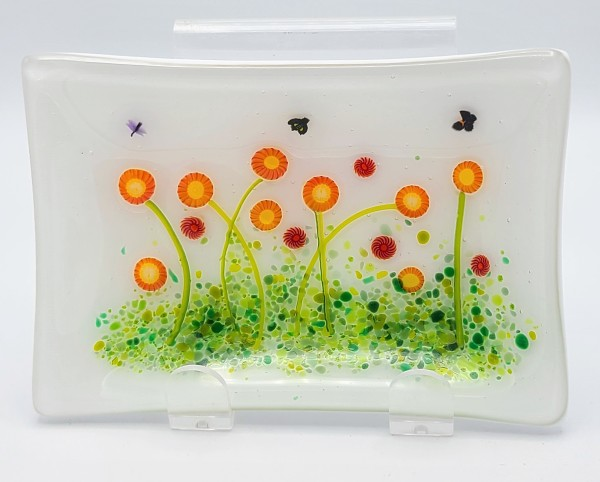 Soap Dish/Spoon Rest-Red/Yellow Daisies by Kathy Kollenburn