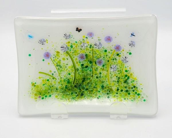 Soap Dish/Spoon Rest-Purple/White Flowers by Kathy Kollenburn