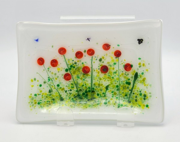 Soap Dish/Spoon Rest-Red/Yellow Swirl Flowers by Kathy Kollenburn